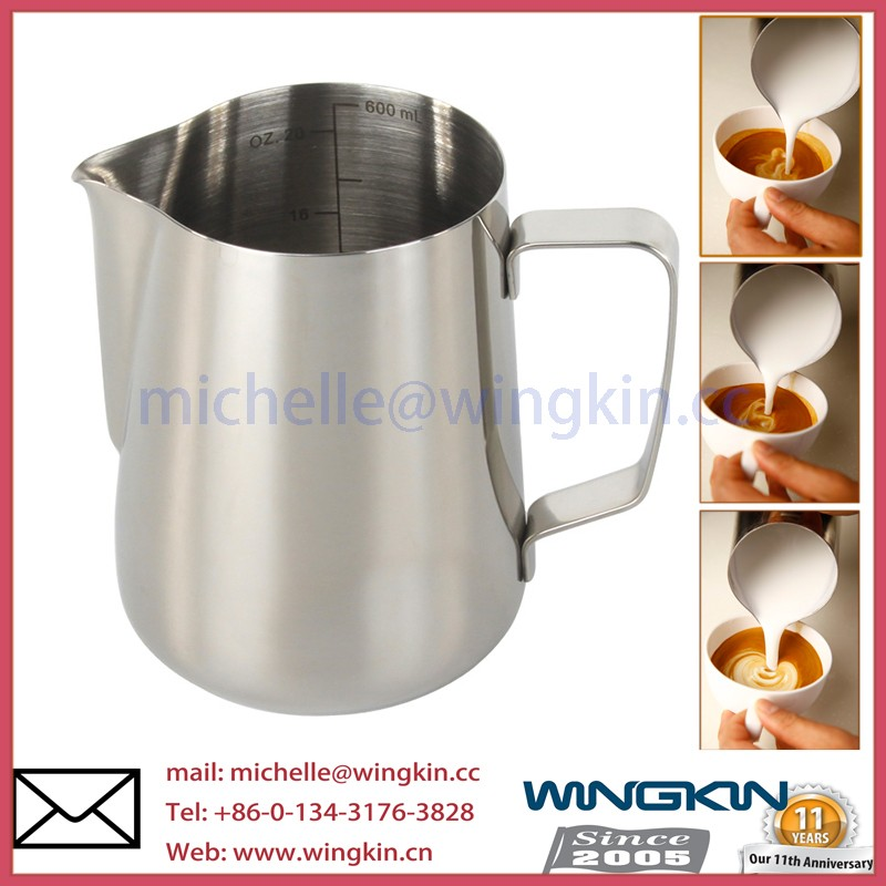 new 350ml stainless steel coffee espresso milk gauge frothing pitcher jug with milk stainless steel thermometer