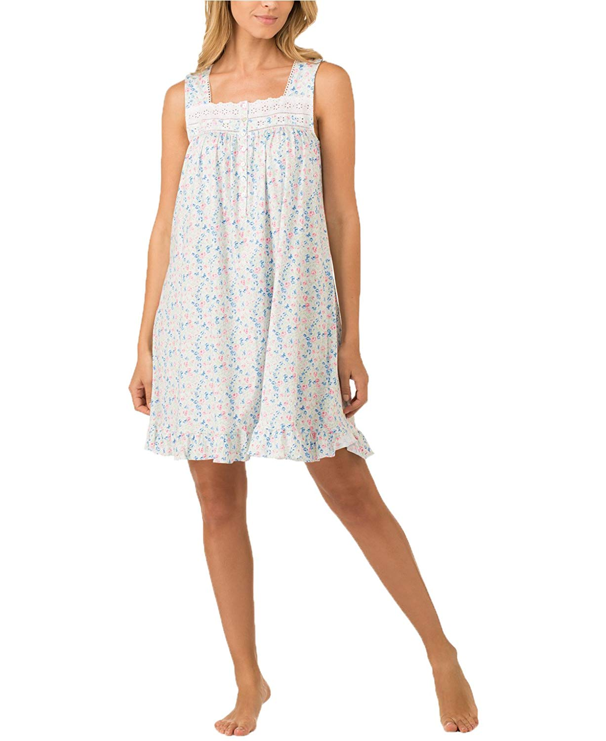 7ed8012b6e Get Quotations · Eileen West Women s Eyelet Trimmed Printed Cotton Knit  Nightgown