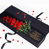 Custom High Quality Cardboard Single Rose Box Flower Box for Gift with Silk Pad