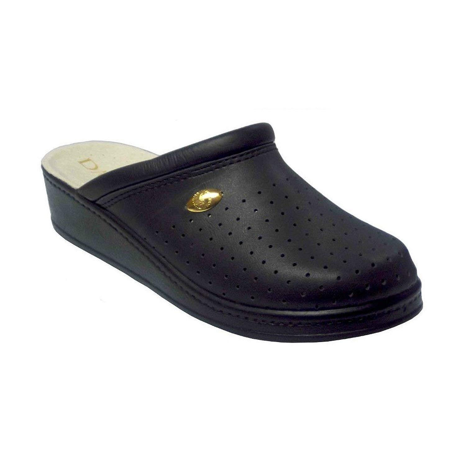 ffd70529c83c5c Get Quotations · Damiani s by Italian Shoemakers Women s 300 Black Leather  Slip On Perforated Clogs Shoes