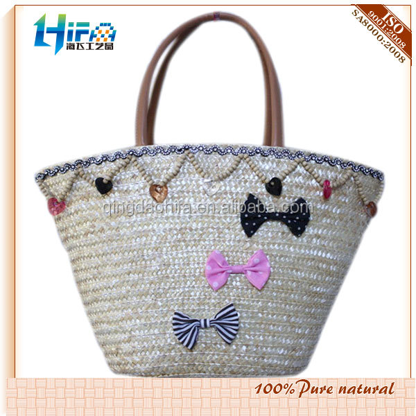 Wholesale Straw Beach Bags With Bead and Lace Trim