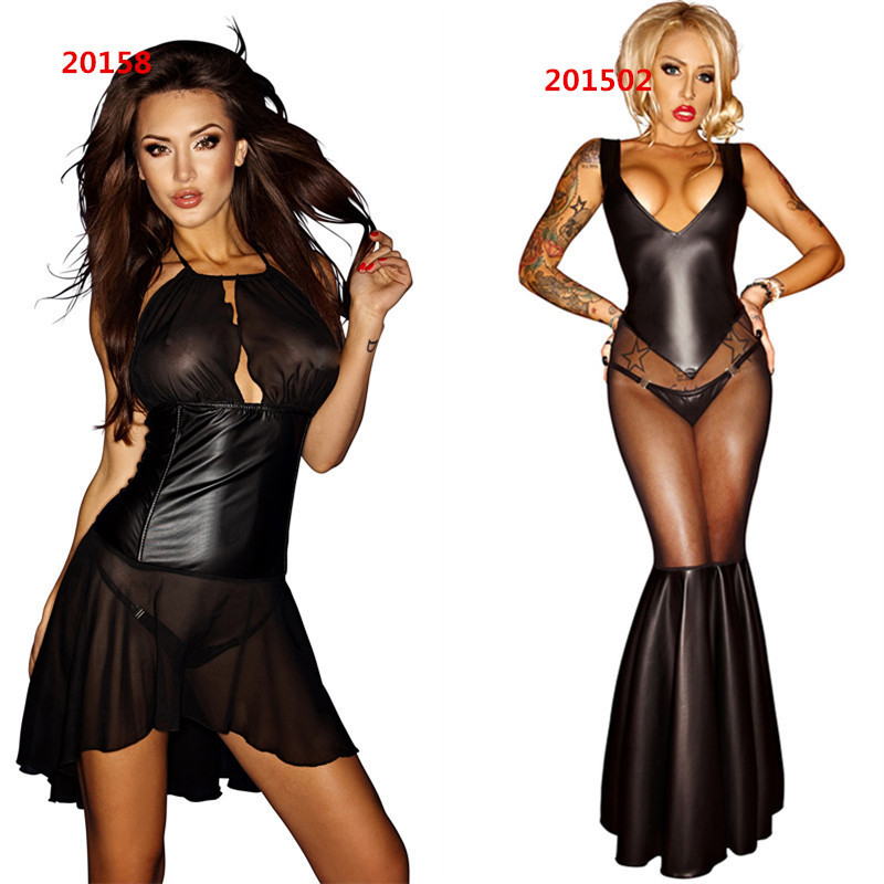 65d10dee2a5 Get Quotations · Hot Sale 2 Style Black Sexy Clubwear Perspective Lingerie Catsuit  Leather Latex Fetish Maid Bodysuit Ladygaga