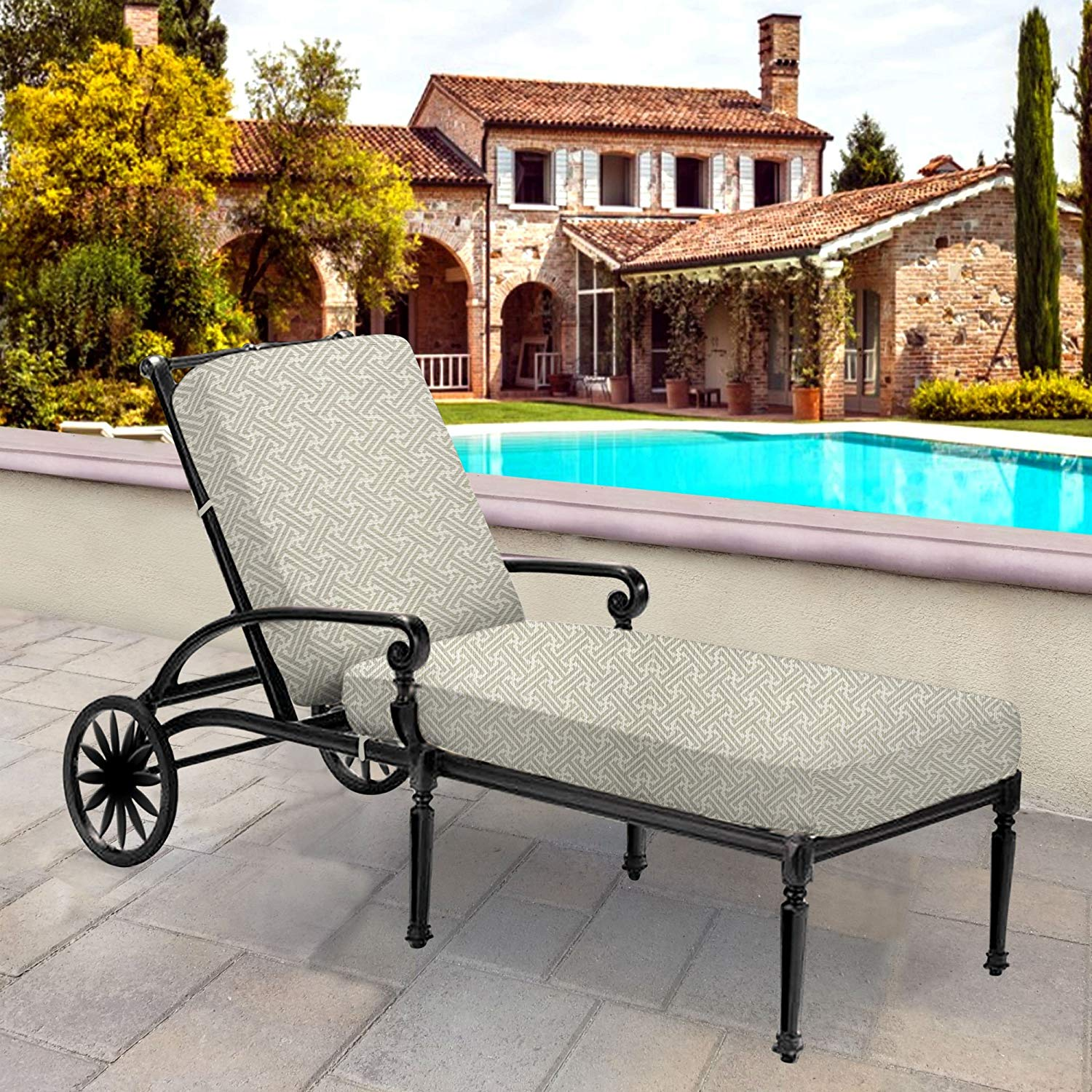 Thomas Collection Outdoor Cushions, Gray Ivory Patio Cushions, One Large Outdoor Chaise Seat & Back Cushion, Made in US, 13071
