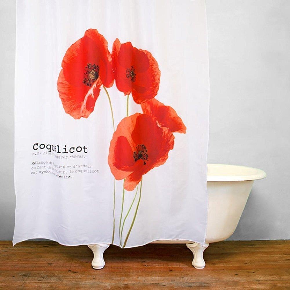 Buy get orange vintage red poppy flower trumpet flower polyester get orange vintage red poppy flower trumpet flower polyester fabric shower curtain 72 x 79 mightylinksfo
