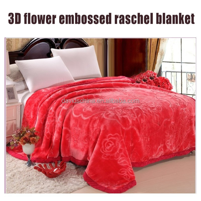 super soft high quality 3D embossed raschel blanket 2 ply acrylic blanket