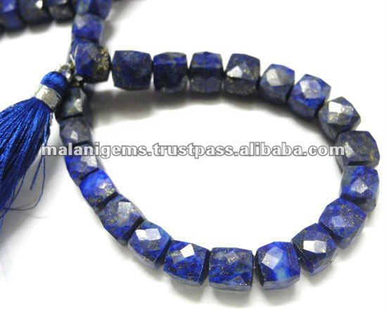 Natural Lapis Lazuli Cube Facet Loose Beads