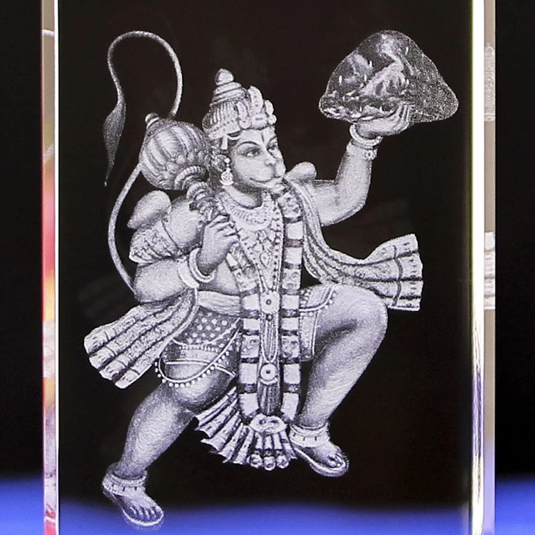 wholesale customized 3D laser engraving Hindu Ganesha crystal religious souvenir