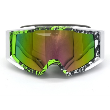 Green White Motorcycle Motocross ATV Dirt Bike Off Road Racing Goggles Glasses Anti-UV Dust Ski Goggle
