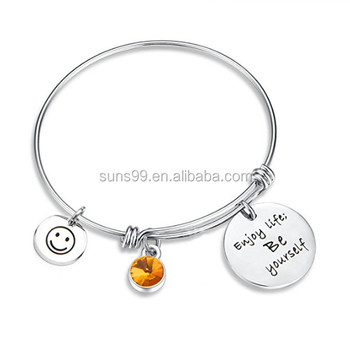 Birthstone Bracelet Enjoy Life Be Yourself Charm Jewelry Expandable Bangle Birthday Gift For Women