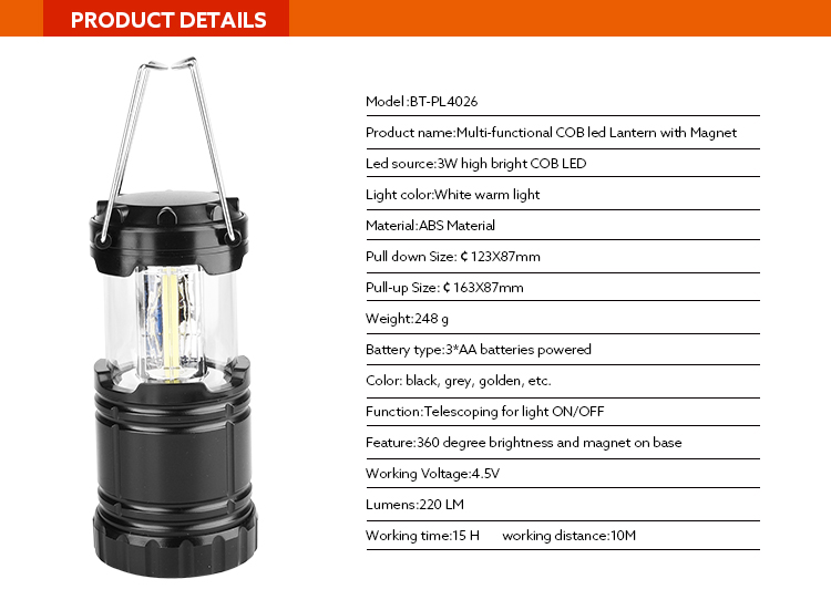 Factory Supply Cheap Plastic Outdoor Multi-functional Solar Power Rechargeable cob led Camping Lantern Light