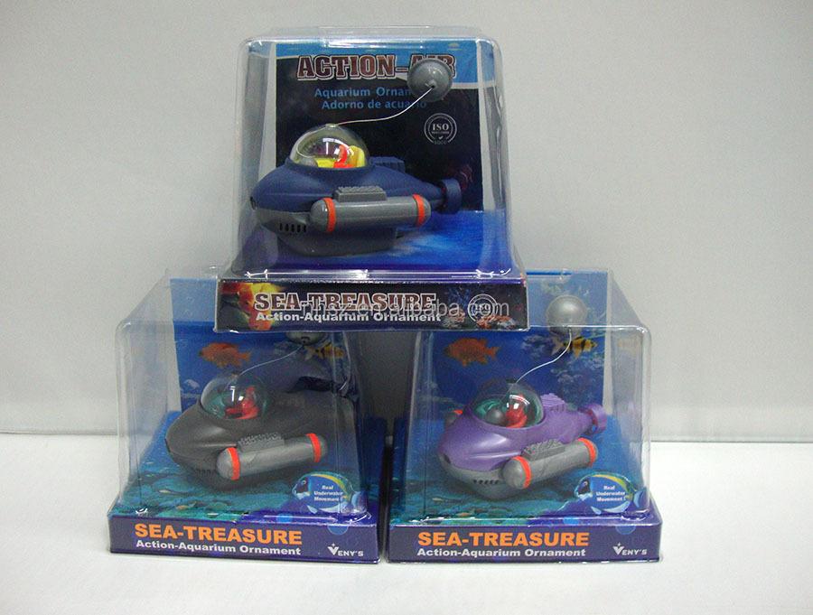 Latest fashion action aquarium toys submarine toy for fish for Toy fish tank