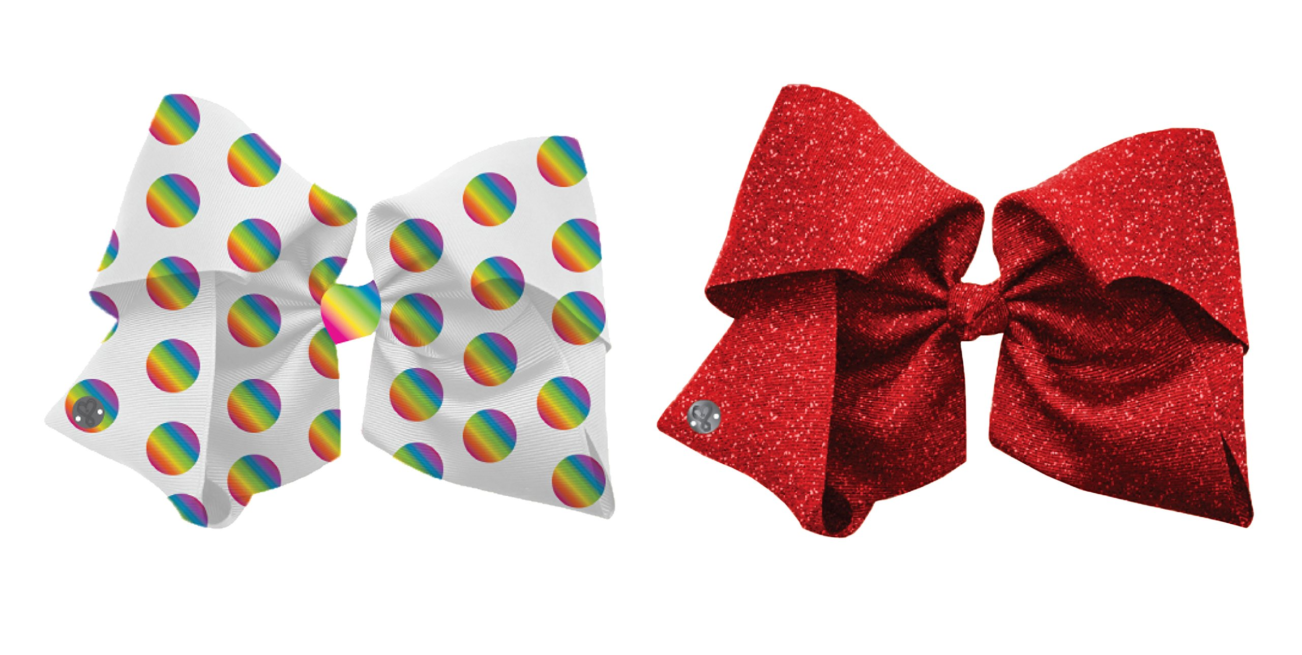 Jojo Siwa Signature Collection Hair Bow 2-Pack with Rainbow Dots and Sparkling Red Designs - Includes Authentic Jojo Siwa Bow Charm