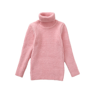 New Design Cotton Fabric Kids Winter Solid Color Girls Turtleneck Sweater