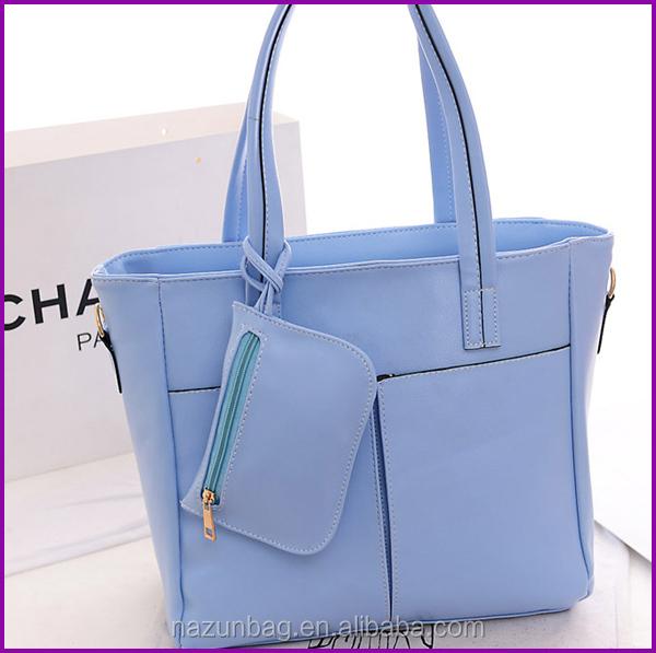 Women Handbags Plain Beach Bag Tote Bag With Outside Pockets - Buy ...