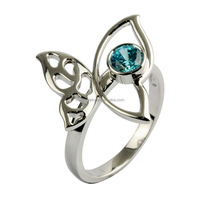 925 silver micro pave fashion Ocean blue zircon gold butterfly ring