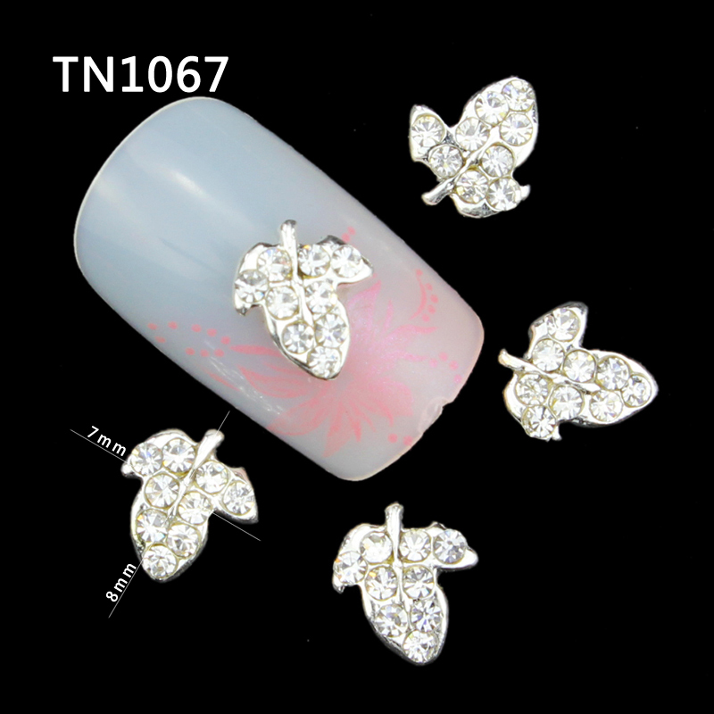 10 Pcs Glitter Silver Tree Leaf 3D Rhinestones For Nail Art Decorations On Gel Polish DIY