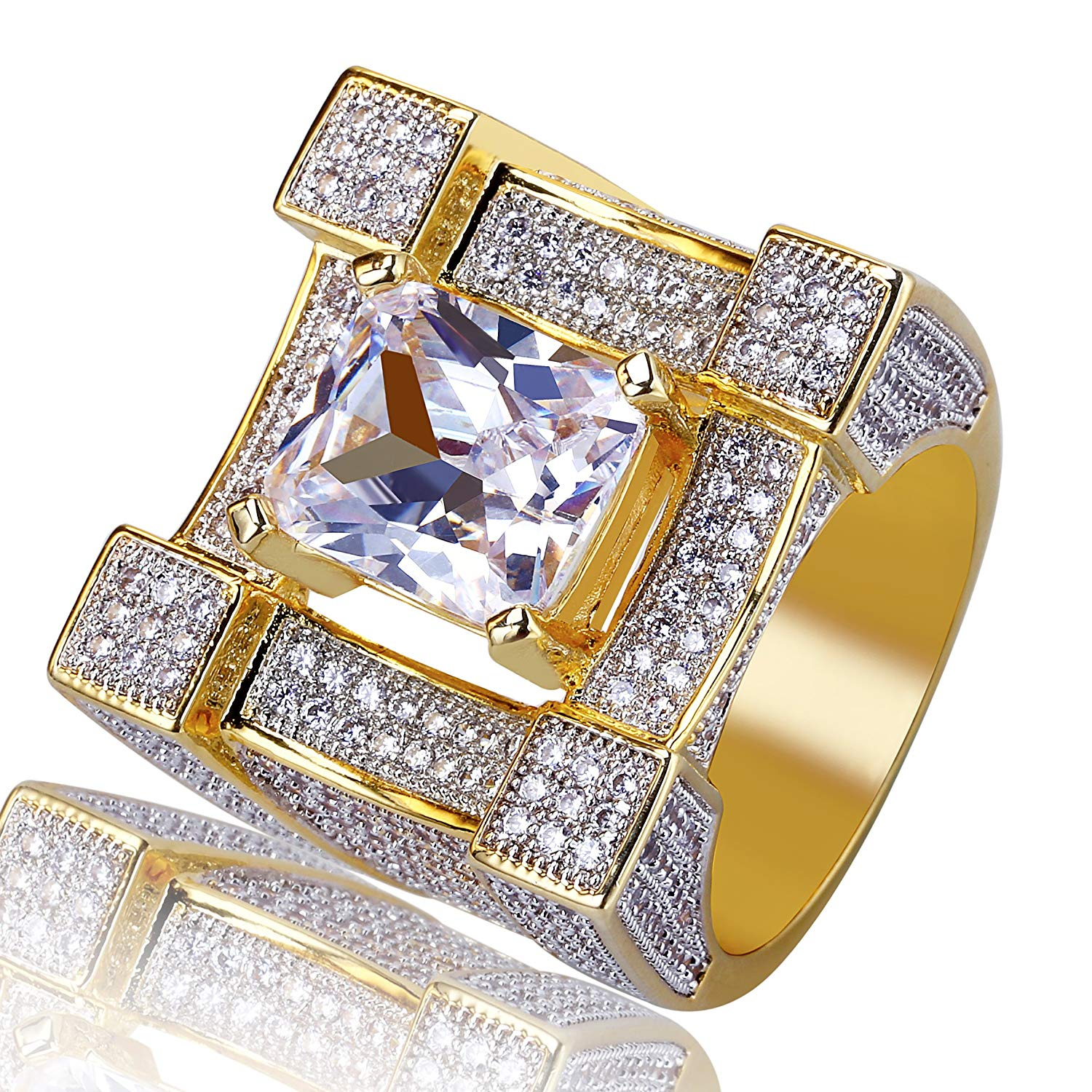 aa5202595ff6d5 Get Quotations · TOPGRILLZ Hip Hop 14K Gold Plated Iced Out CZ Simulated  Diamond Cushion Diamond Square Punky Ring
