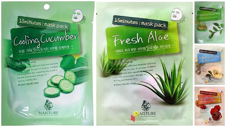 Naisture 15 Min Facial Mask Variety Bundle, 0.8 oz (Pack of 5) includes 1-Mask Juicy Pomegranate + 1-Mask White Rose + 1-Mask Fresh Aloe + 1-Mask Moisture Green Tea + 1-Mask Cooling Cucumber