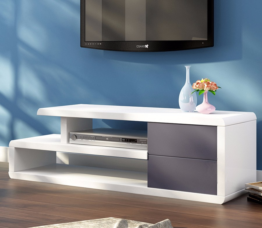 High gloss white tv stand modern furniture living room
