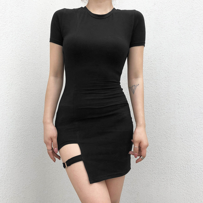 NS3240 Wholesale Women Plain Black Irregular Bodycon Dresses