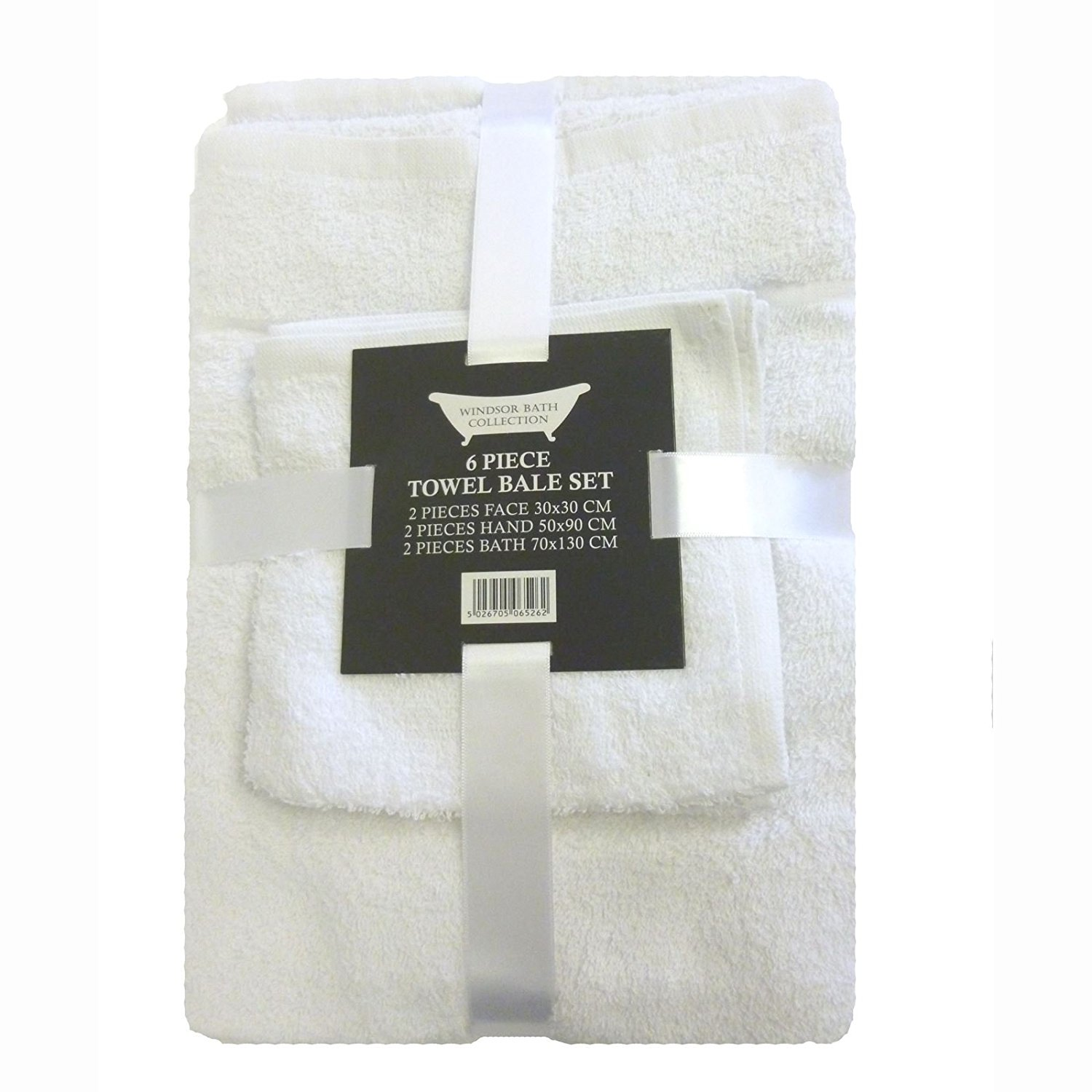 Towel Bale 6 piece (2 face, 2 hand, 2 bath) 450gsm 100% Cotton - White