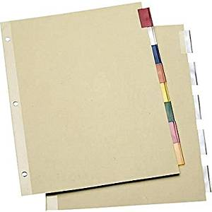 Staples Economy Insertable Dividers with Buff Paper, 8-Tab Clear, 6 Sets/Pack