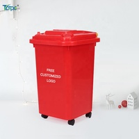 Customized Christmas red color can wheeled trash can 30L 50L 60L kids toy bin