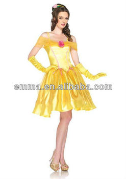 Beauty and the Beast Princess BELLE Satin Dress Outfit Adult Halloween Costume CC208  sc 1 st  Alibaba & Beauty And The Beast Princess Belle Satin Dress Outfit Adult ...