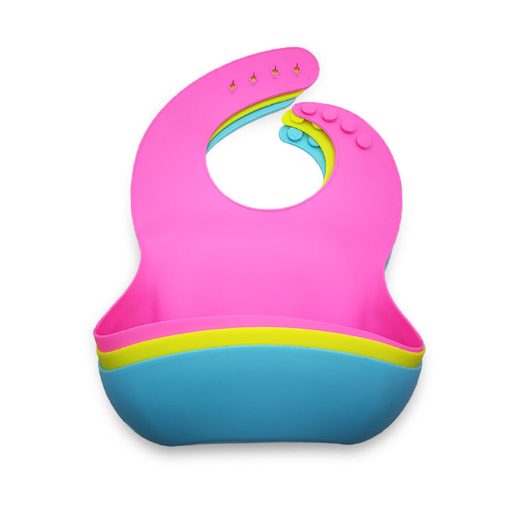 Amazon Hot soft waterproof silicone baby bib with food catcher