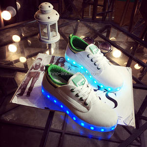 7b12048f552bc Good pattern women canvas upper led light shoes low cut low price flashing  color USB changing