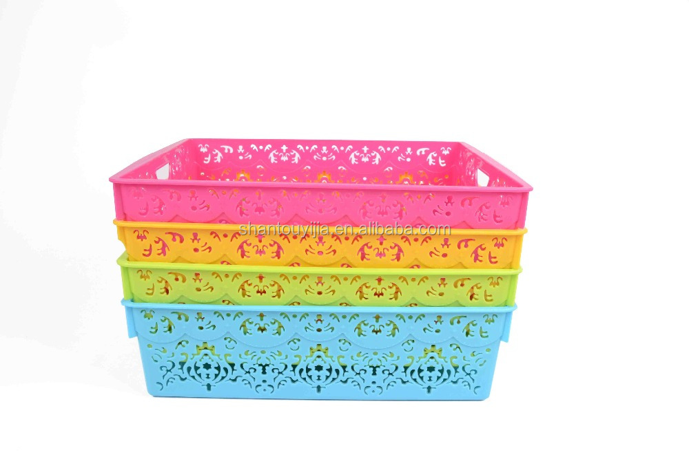 rectangle flower hollow storage plastic basket
