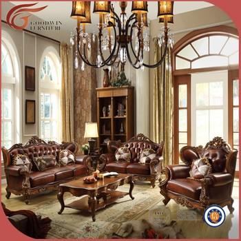 Beautiful Classic Pure Leather Sofa Set, High End Leather Sofa