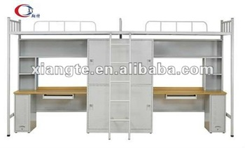 Conjoint Twin School Military Apartment Dorm Loft Wooden Metal Bunk