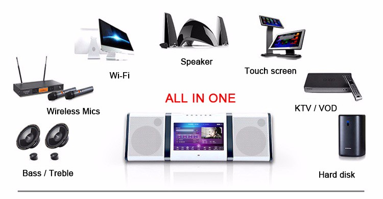 10.1 inch Touch screen Android WiFi Karaoke speaker with VHF mics