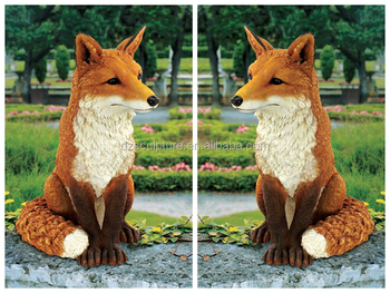 Sitting Plush Life Size Resin Fox Statue For Sale