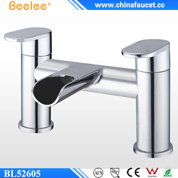 Beelee Deck Mounted Waterfall Bath Filler Mixer Tap with Double Lever