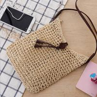 high quality handmade crochet crossbody straw bag simple style fringe knitted beach bag