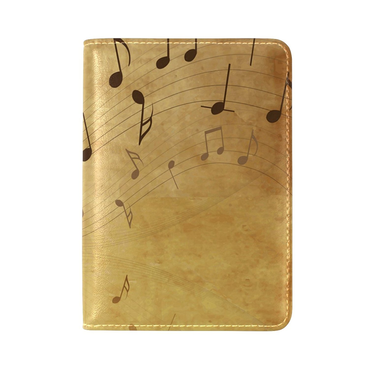Sunlome Vintage Music Notes Pattern Leather Passport Holder Cover Travel Wallet Case