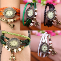 In Stock Promotional Most Popular European Style Retro Christmas Bells Pendant Hand-Woven Leather Quartz Watches Women