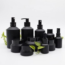 High End Frosted Matte Hitam Kosmetik <span class=keywords><strong>Botol</strong></span> <span class=keywords><strong>Kaca</strong></span> dan <span class=keywords><strong>Botol</strong></span> <span class=keywords><strong>Botol</strong></span> Pompa untuk Lotion Serum Cream Full Set