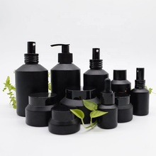 High End Frosted Matte Black Cosmetische <span class=keywords><strong>Glazen</strong></span> <span class=keywords><strong>Fles</strong></span> En Jar Pomp <span class=keywords><strong>Fles</strong></span> Voor Lotion Serum Crème Volledige Set