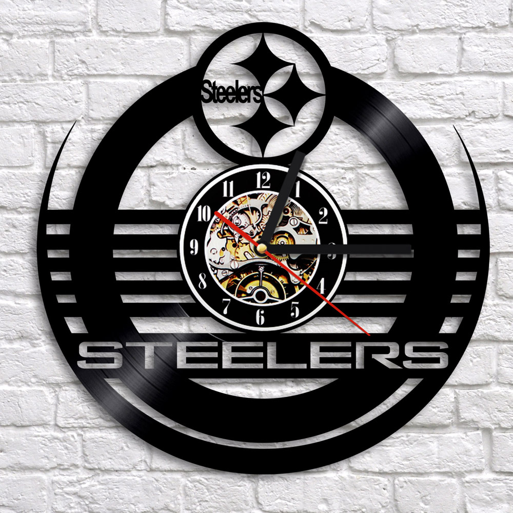 Dropship OEM Customize NFL PITTSBURGH STEELERS Creative 12 Inch Vintage Clock LP Record 3D Digital Clock Decor Vinyl Wall Clock