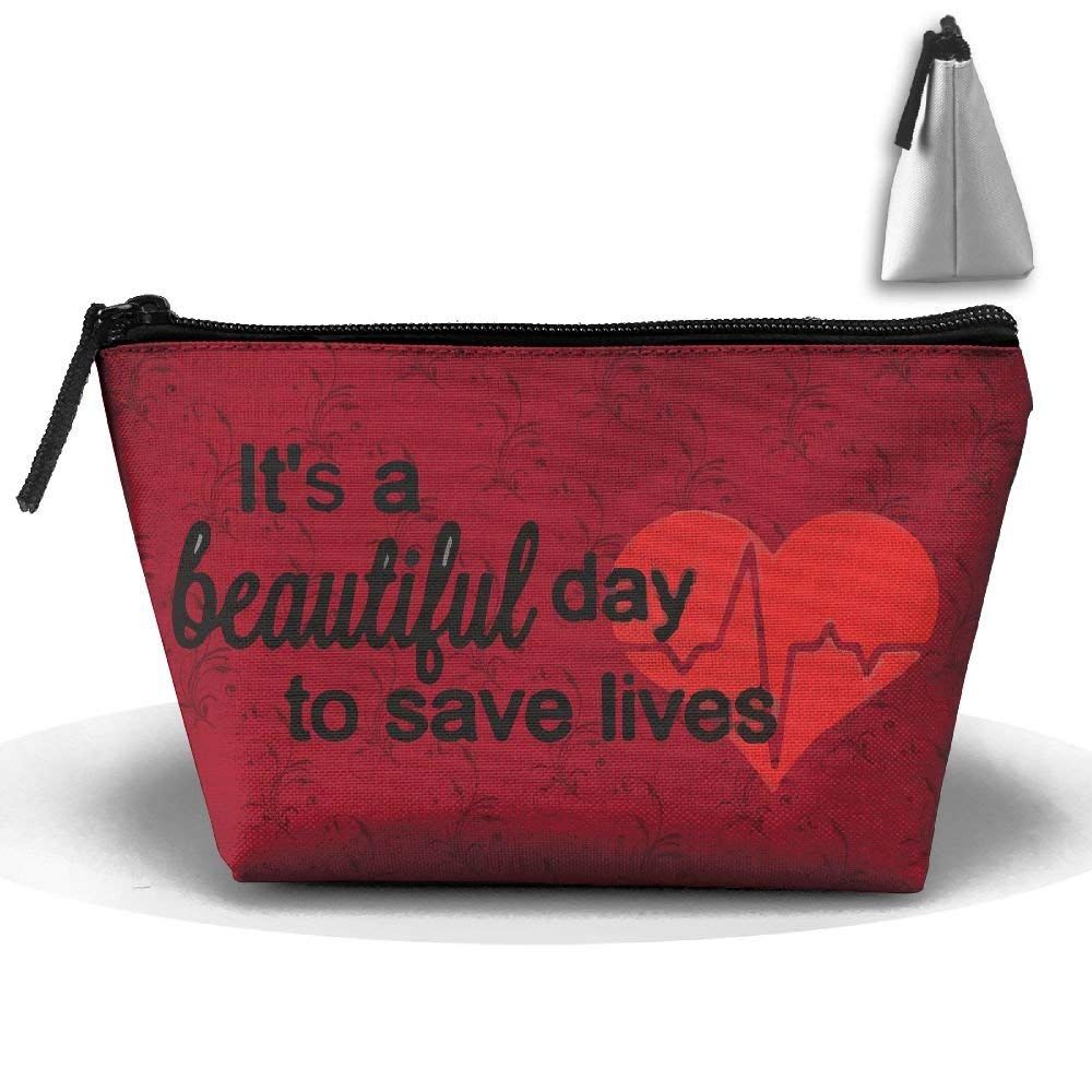 GNMB Beautiful Day To Save Lives Portable Trip Toiletry Bag Trapezoidal Zipper Travel Receive Bag (Trapezoidal)