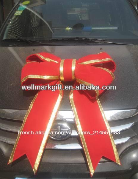 Vente Chaude 24 Rouge Géants Noeud De Velours Avec Bordure En Or