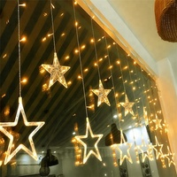 Twinkle Star 12 Stars 138 LED Curtain String Lights Window with 8 Flashing Modes