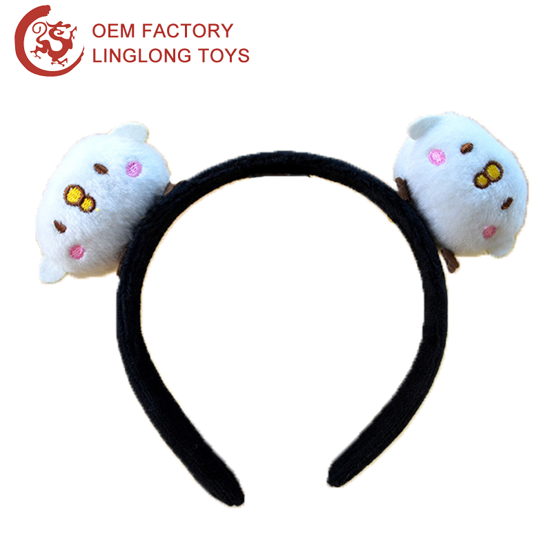 Oem Animal Chicken Plush Hairlace Head Band White Embroidery Chicks Hair Hoop Circle Plush Chicken Toy Headband