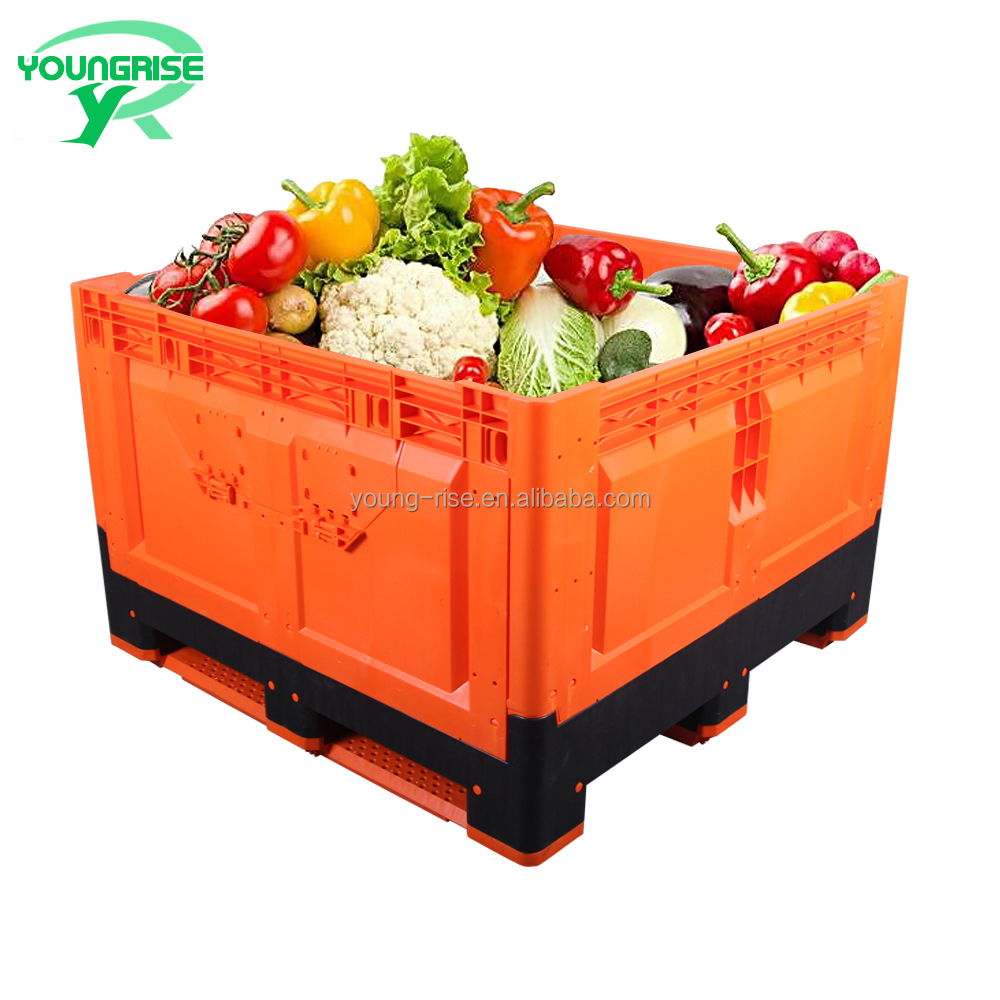 Australian Standard bright-colored Large folding plastic vegetable crates fruit pallet container