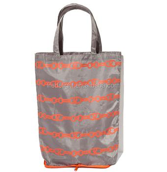 Dongguan Factory Customized Printing Waterproof Nylon Foldable Zipper Beach Tote Bags Ping Purse Book School