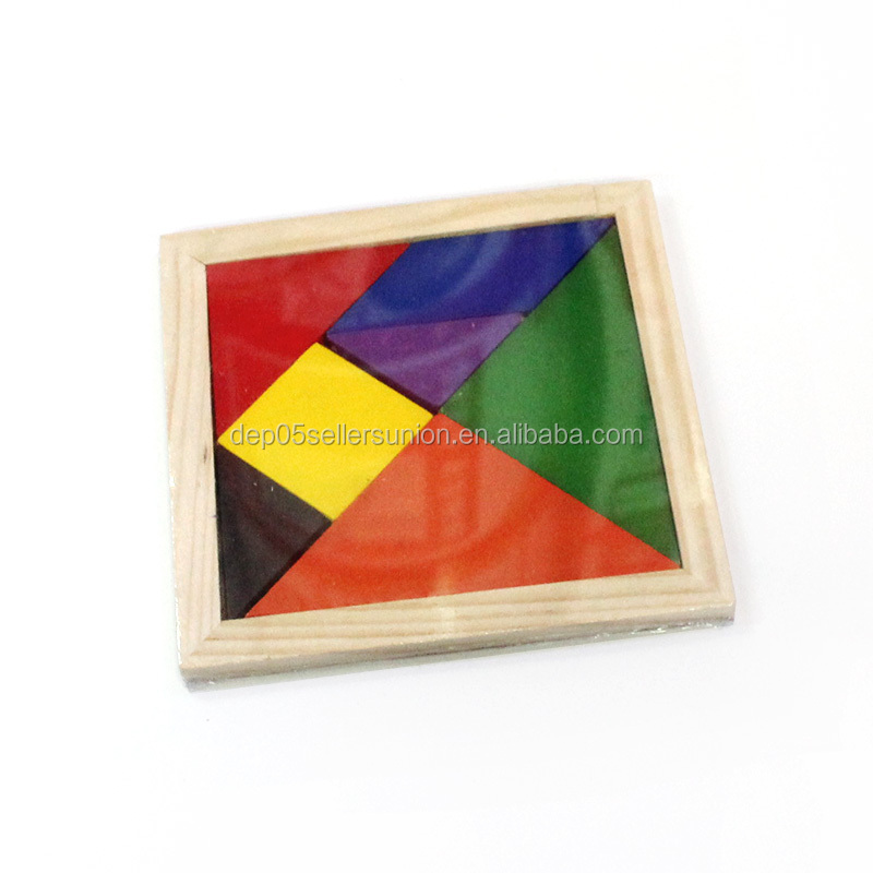 High quality brain teaser Square Tangram wooden puzzle games