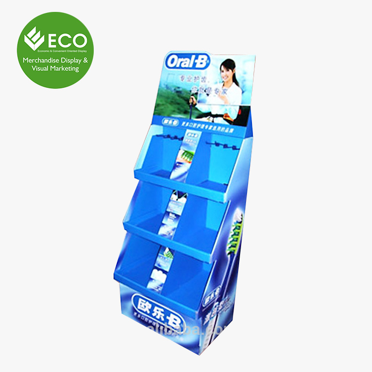 Attractive Rotating Supermarket Portable Toothbrush Cardboard Floor Display Stands